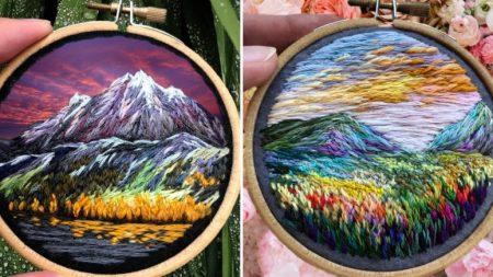 '자연의 아름다움을 수 놓다' 섬세함이 살아있는 손 자수 작품
