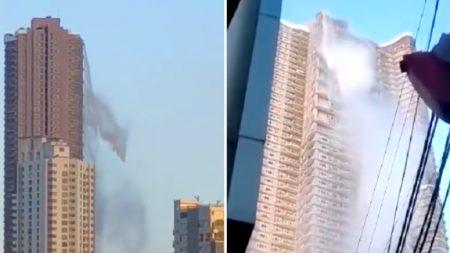 필리핀 강진에 고층건물에서 폭포수처럼 쏟아져 내린 물폭탄