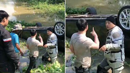 베트남서 개울에 빠진 승용차 운전자를 한국인이 구조했다