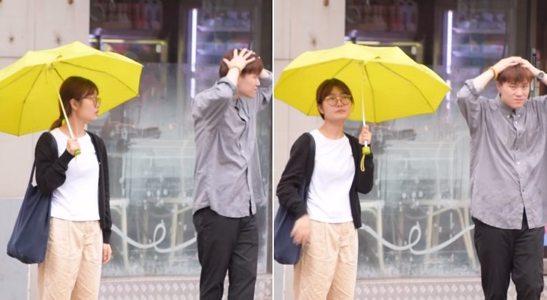 우산 없어 비 쫄딱 맞고 서 있는 남성 본 시민들의 놀라운 반응 (영상)