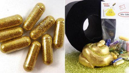 금가루 가득 들어 먹기만 하면 황금 똥 싸는 '반짝이 알약'이 팔리고 있다