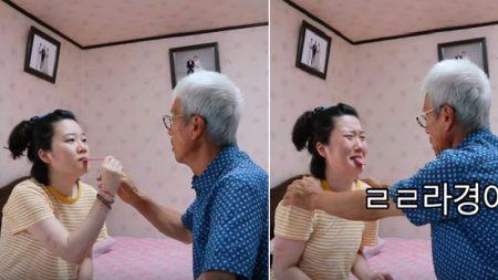 '가짜 혓바닥' 장난치는 손녀딸 걱정돼 깜짝 놀란 할아버지의 반응 (영상)