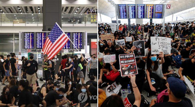 홍콩 시위대 홍콩국제공항 점령…여객기 운항 전면 중단