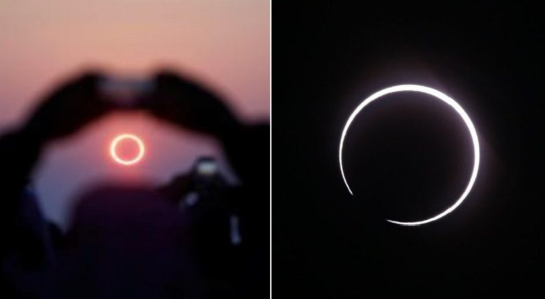 """""""2019 마지막 우주쇼"""" 118년 만에 카메라에 포착된 행운의 '금반지 일식'"""