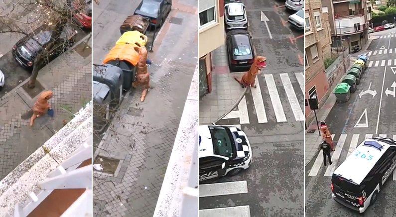 통행금지 내려진 스페인서 쓰레기 버리러 나갔던 공룡의 최후 (영상)