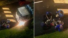 쓰레기 차량 라이트에 의지해 길바닥서 아침 식사하는 환경미화원들