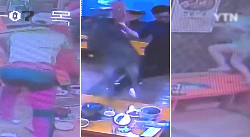 감자탕 먹다가 멧돼지가 들어왔을 때 사람들의 반응 (CCTV 영상)