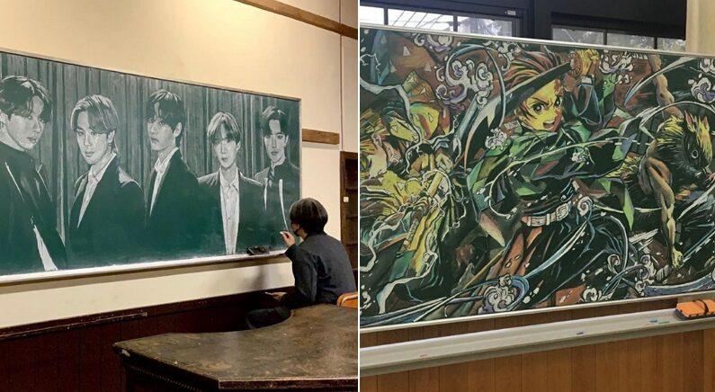 고등학교 선생님이 분필 하나로 그린 '칠판 그림'이 놀랍도록 완벽하다 (사진 9장)
