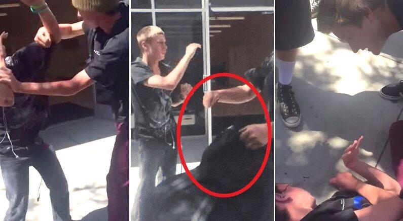 시각장애 친구 괴롭히는 학교폭력 가해자 주먹 한방으로 때려눕힌 고등학생