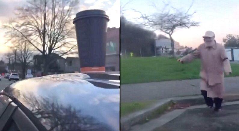 차 위에 커피를 올리고 그대로 출발했더니, 사람들이 뛰어왔다 (영상)