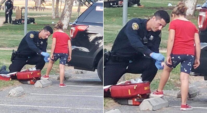 """공무 수행 도중 """"나 다쳤어요"""" 하며 다가온 아이에게 미국 경찰이 보인 행동"""
