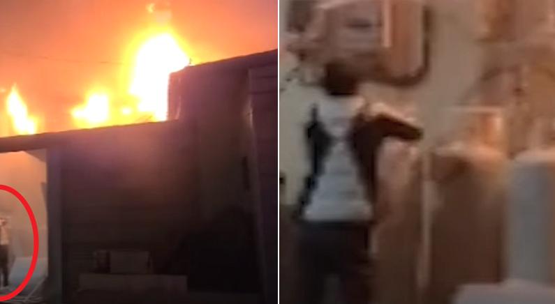 불길 앞 LPG 가스통으로 달려간 시민이 한 행동 (영상)