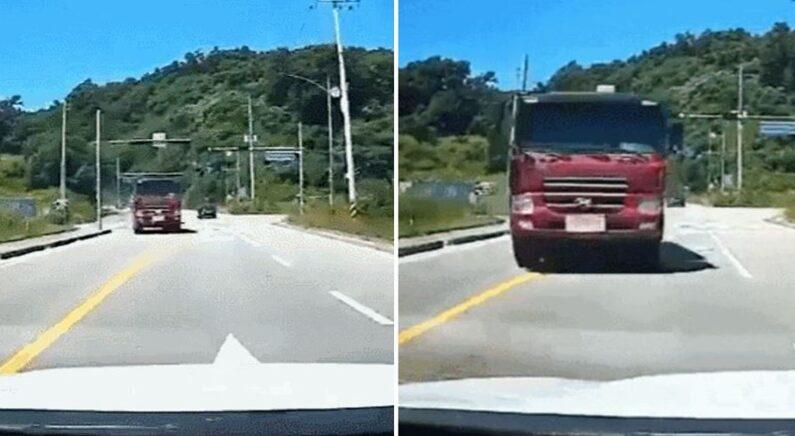 덤프트럭이 중앙선 넘어 돌진하자 기지를 발휘해 '즉사' 위기 넘긴 운전자