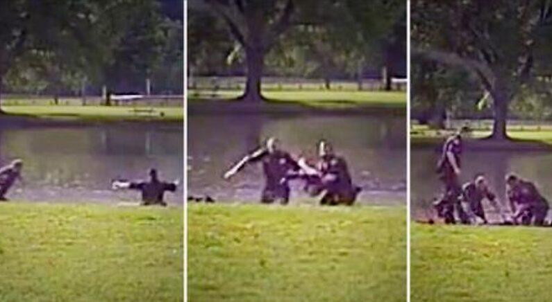 실종된 아이 발견하고 물속으로 뛰어든 경찰관들이 블랙박스에 포착됐다