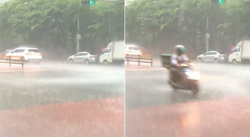 """""""갑자기 비가 미친 듯이 오는데 배달기사님이 비명 지르면서 지나가셨어요"""" (영상)"""