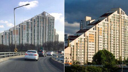 높이 제한하는 문화재법 지키려 극단적인 디자인으로 지어진 아파트
