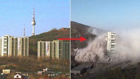"""""""시원하다"""" 남산 가로막는다는 이유로 다이너마이트 폭파 철거된 아파트"""